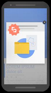 Et eksempel på mobilannonser som ikke vil bli akseptert av Google fra nyttår.